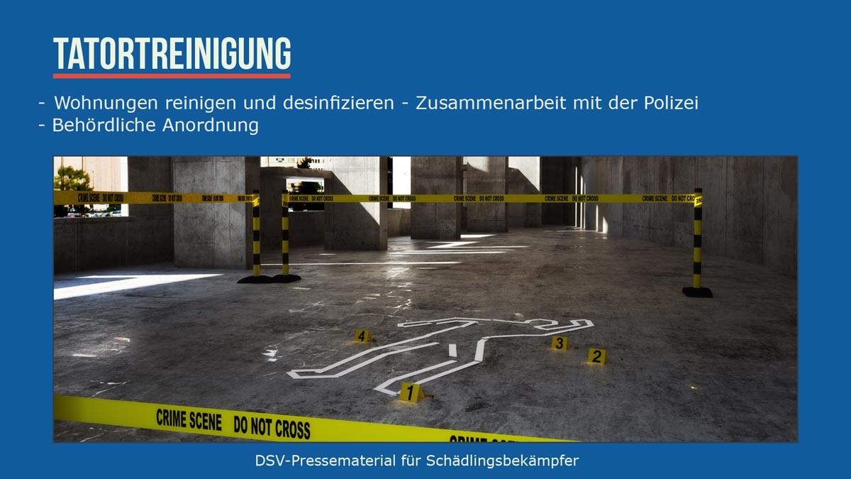 Tatortreinigung Wohnungen reinigen u.desinfizieren -zusammenarbeit mit Polizei -behördliche Anordnung